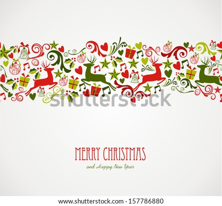 Merry Christmas decorations elements seamless pattern border. Vector file organized in layers for easy editing.  - stock vector