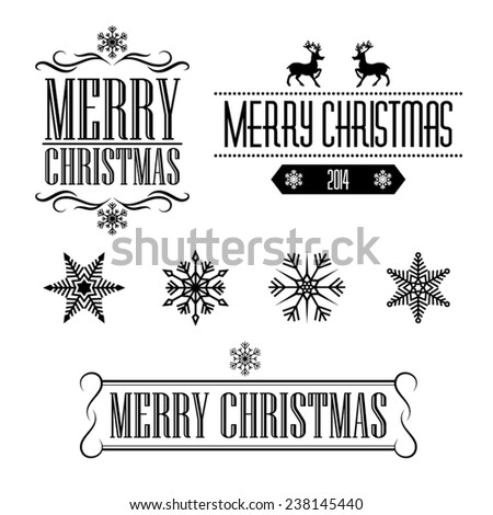 Merry Christmas decorative signs and frames with snowflakes - stock vector