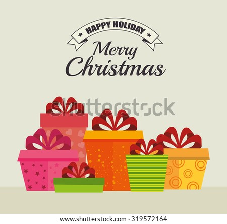 Merry christmas decorative stuffs and pine tree design, vector illustration eps 10. - stock vector