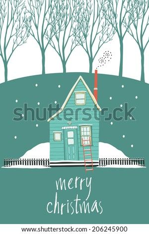 Merry Christmas design card with a house in a winter forest - stock vector