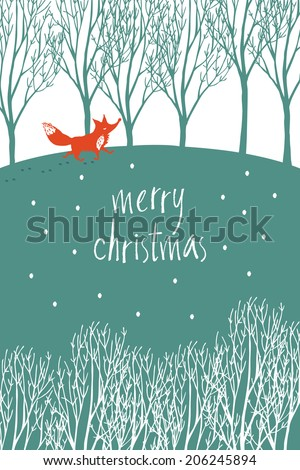 Merry Christmas design card with red fox in a winter forest - stock vector