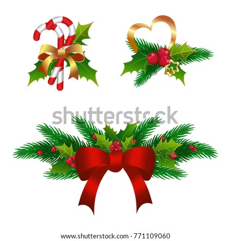 Merry Christmas Design Tree Wreath Garland Decoration Of Holly Fir Branch For