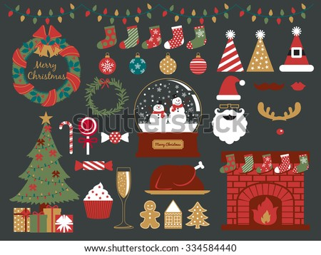 merry christmas design elements,happy new year,christmas party,season greeting - stock vector