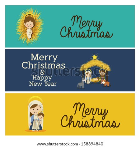 merry christmas  design over colorful  background vector illustration - stock vector