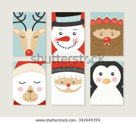 Merry Christmas design set. Cute retro designs of winter xmas characters: santa, bear, penguin, deer, elf and polar bear. Ideal for holiday poster, holidays greeting card or web. EPS10 vector. - stock vector
