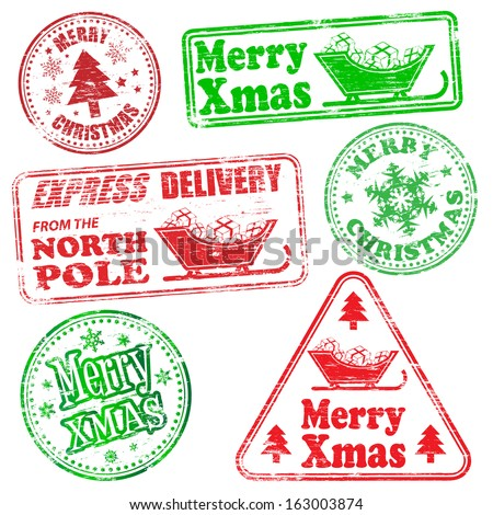 Merry Christmas, different shaped rubber stamp vectors  - stock vector