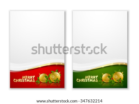Merry Christmas document templates with golden baubles