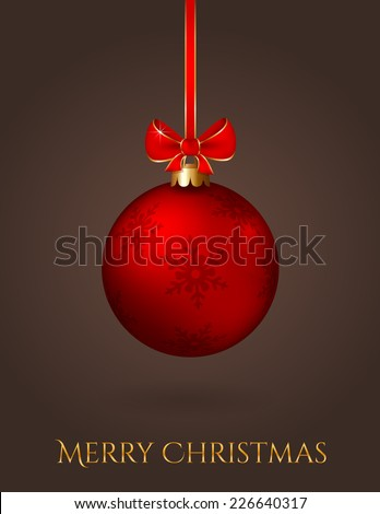 Merry Christmas! Elegant greeting card with red christmas ball on a dark background. Vector illustration.