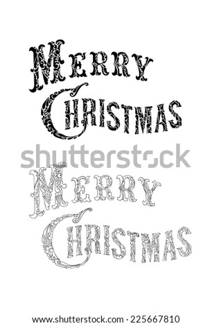 Merry Christmas elegant ornamental hand drawn typography