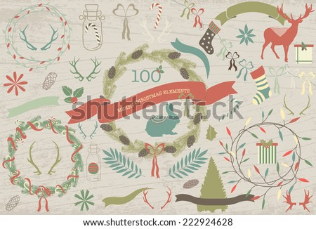 Merry christmas elements. Part 1 - stock vector