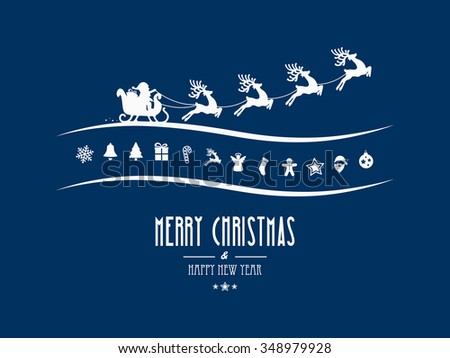 merry christmas elements santa sleigh blue background - stock vector