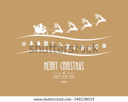 merry christmas elements santa sleigh gold background - stock vector