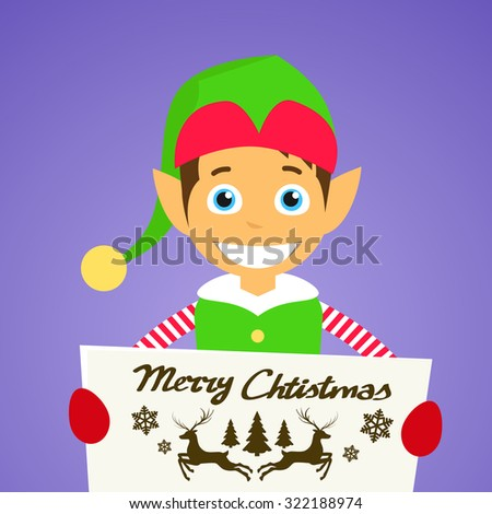 Merry Christmas Elf Cartoon Character Poster Little Santa Helper Greeting Card Hold Placard Sign Board Blank with Copy Space Flat Vector Illustration - stock vector
