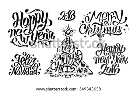 Merry Christmas, Feliz navidad and Happy New Year typography text greetings collection for print or web banner. Vector set of hand drawn lettering inscriptions for winter holidays - stock vector