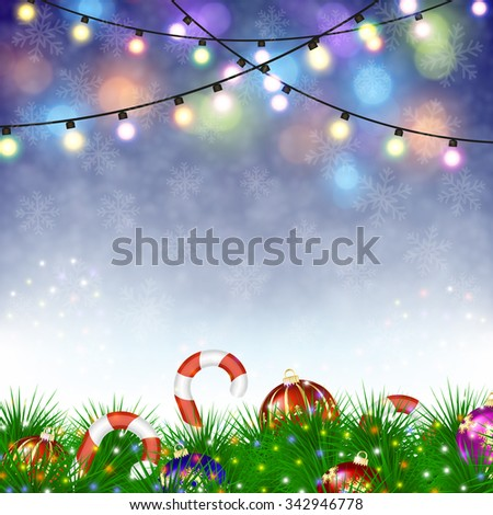 Merry Christmas festive background with Christmas ornaments. concept for greeting or postal card. vector illustration - stock vector