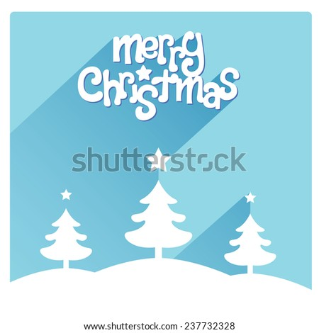 Merry Christmas flat lettering design greetings card. Long Shadow on cyan background, christmas trees on the footer, vector illustration - stock vector