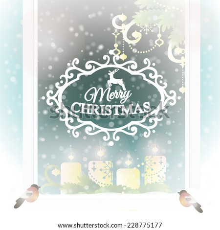 Merry Christmas. Frosted window with Christmas decoration. Vector illustration.
