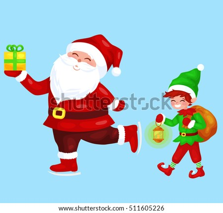 funny santa claus with gift on skates elf with bag full of - Santa Claus Gifts