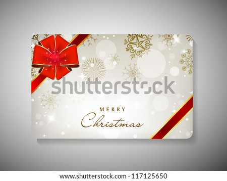 Merry Christmas gift card with red ribbon. EPS 10. - stock vector