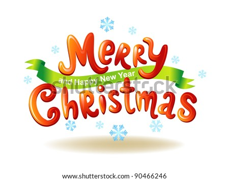 Merry Christmas glossy inscriptions - stock vector