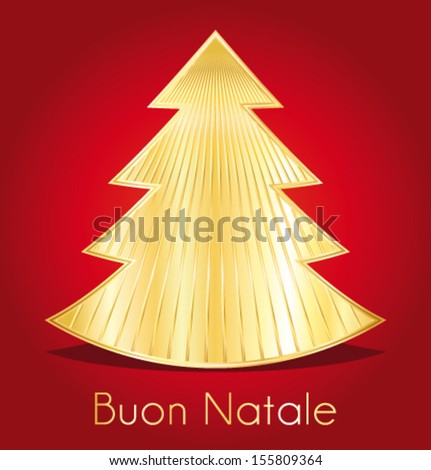 Merry Christmas gold and red design vector greeting card. Italian version. - stock vector