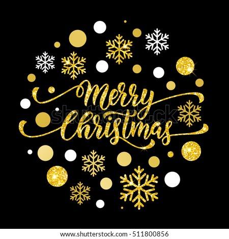 Merry Christmas Gold Glitter Lettering Design Stock Vector ...