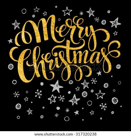 Merry Christmas gold glittering lettering design. Vector illustration  - stock vector