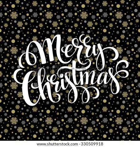 Merry Christmas gold glittering lettering design. Vector illustration EPS 10 - stock vector
