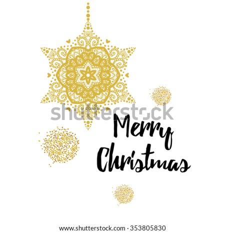 Merry Christmas gold glittering lettering design. Vector illustration EPS 10. - stock vector
