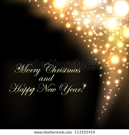 Merry Christmas Golden Background With Bokeh, Vector Illustration - stock vector
