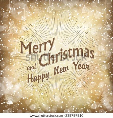 Merry Christmas Golden Card - stock vector