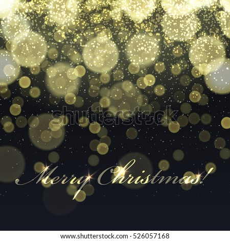 Merry Christmas! Golden Lights Background and snowfall. Vector template. Easy to use in design projects for holiday, as is postcard, invitations, covers, posters, banners,  wallpapers...