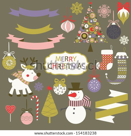 Merry Christmas graphic set - stock vector