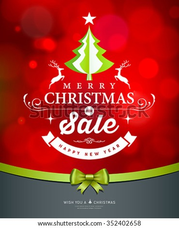 Merry Christmas green tree sale white lettering design greeting card on red background, vector illustration - stock vector