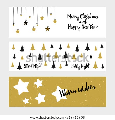 Merry Christmas greeting banner with christmas tree and stars