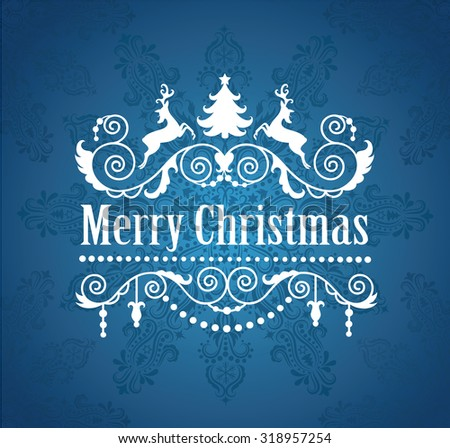 Merry Christmas greeting card. - stock vector