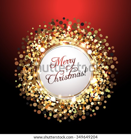 Merry Christmas greeting card against glittering background - stock vector