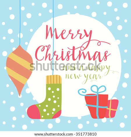 Merry Christmas greeting card and background - stock vector