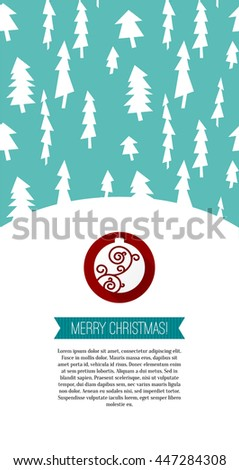 Merry Christmas Greeting card. Christmas postcard with tree pattern decoration, red ribbon, ornament. Vector illustration. Holiday background with vintage landscae. - stock vector