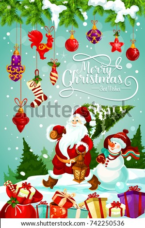 Merry christmas greeting card design santa stock photo photo merry christmas greeting card design of santa carry christmas tree and snowman with new year decorations m4hsunfo