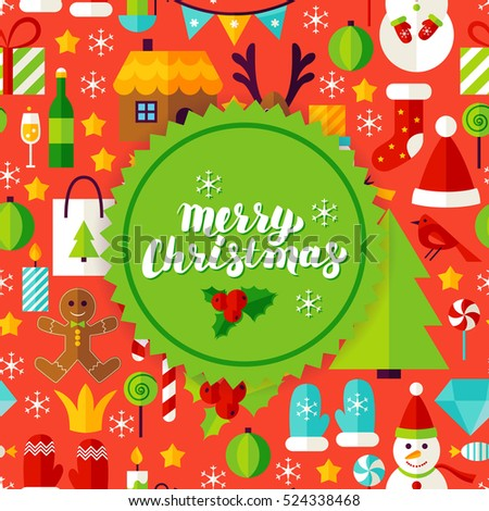 Merry Christmas Greeting Card. Flat Style Vector Illustration for Happy New Year Winter Holiday.