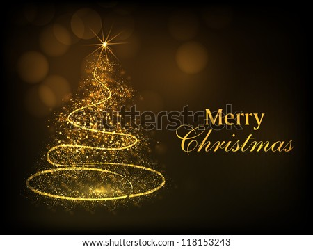 Merry Christmas greeting card, gift card, invitation card or background with shiny sparkle Xmas tree. EPS 10.