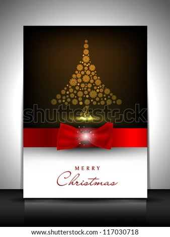 Merry Christmas greeting card, gift card or invitation card with beautiful Xmas tree. EPS 10. - stock vector