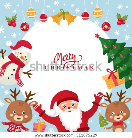 Merry christmas greeting card happy new stock vector 511875229 merry christmas greeting card happy new year holidays frame with santa snowman m4hsunfo Images