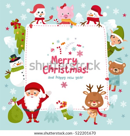 Merry christmas greeting card happy new 522201670 merry christmas greeting card happy new year holidays frame with santa snowman negle Image collections