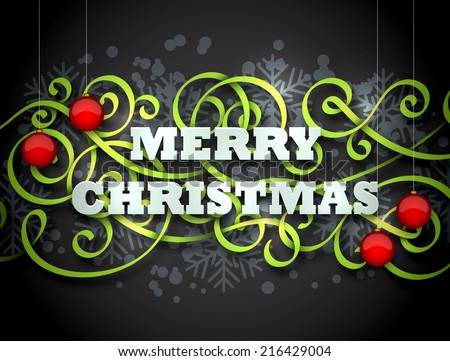 Merry Christmas greeting card in traditional colors with green flourish and red balls on dark background. Cool effects of lighting and shadows. EPS10 vector illustration. - stock vector