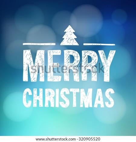 Merry christmas greeting card invitation hand stock vector 320905520 merry christmas greeting card invitation hand drawn text and doodle christmas tree symbol stopboris Images