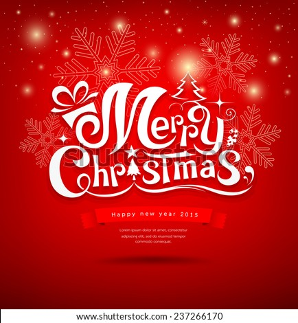 Merry Christmas greeting card lettering design red background, vector illustration