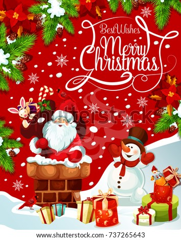 merry christmas greeting card santa chimney stock vector royalty