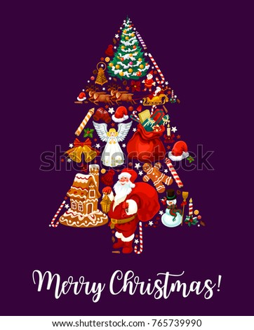 Merry christmas greeting card xmas tree stock vector 765739990 merry christmas greeting card of xmas tree in new year decoration ornaments vector symbols of m4hsunfo